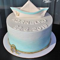 Christening cake with boat