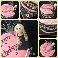 Black and pink 40th birthday cake