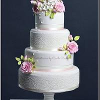 Flowers and Lace Wedding Cake by Cecile Crabot