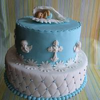Cake for baptism with angels by Wanda