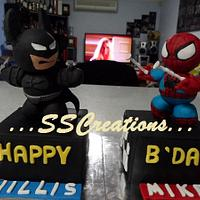 Batman and Spiderman Figurines Cake