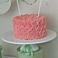 Pretty pink rosetta cake with handmade bunting