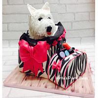 Dog on a handbag cake