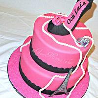 Pink and Black Paris Fashion cake