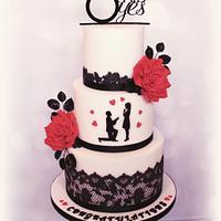 Romantic engagement cake