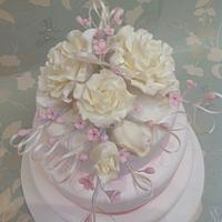 Cream and pink roses