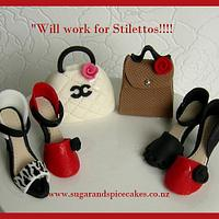"""'Will work for Stilettos"""" - Cupcake Toppers ~  by Mel_SugarandSpiceCakes"""