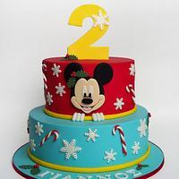 Mickey Mouse Christmas Themed Cake
