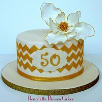 Southern Magnolia Golden Anniversary Cake