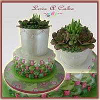 Billows 'n Succulent-themed Wedding Cake