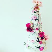 Floral Handpainted Wedding Cake.