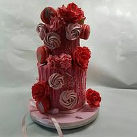 Over the top pink and red cake
