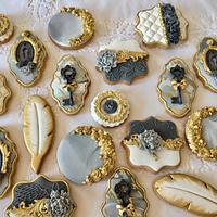 Wedding cookies-grey marble