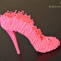 Hot Pink Chocolate Drizzle Sugar Shoe