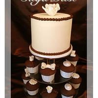 Vintage Lace Wedding Cupcake tower