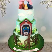 Peppa pig , Thomas and stick man 1st birthday cake