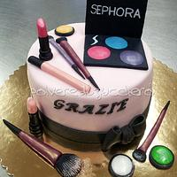 cake makeup and brushes