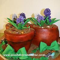 Buttercream flowerpots cake by Kara