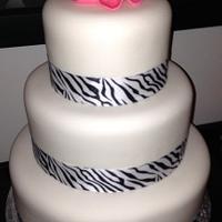 Hot Pink Flower Wedding Cake