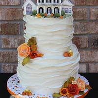 Autumn Cake with 3D House Topper