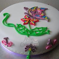 Butterfly Quilling Cake