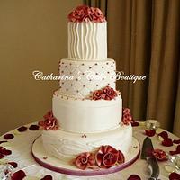 Old charm ribbon roses wedding cake