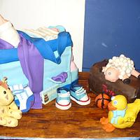 baby shower bag cake by monica