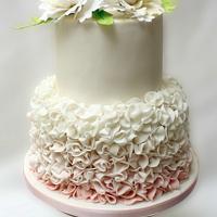Peonies and ruffles Wedding cake