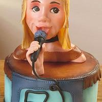 Singer cake topper