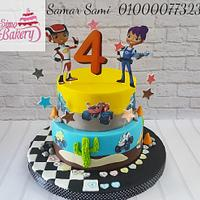 Blaze cartoon car cake