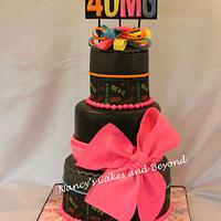 40th Birthday Black Fondant Cake