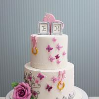 Butterfly and rose engagement Cake