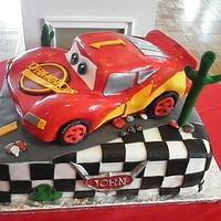 Lightning McQueen Cake by Andrea Bergin
