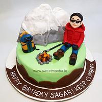 Trekking theme customized fondant birthday cake