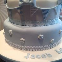 Boy's christening cake 2 tier by Justmunchkins