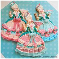 Marie Antoinette Royal Icing Dress Cookies