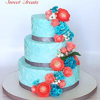 Cascading Floral Wedding Cake