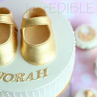 Baby Booties! All in Gold! Cup Cake Tower