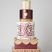 Burgundy and Gold fashion wedding cake