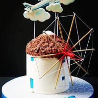 Mykonos windmill cake