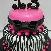 Zebra/Pink 13th Birthday Cake