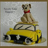 Classic Mini with Eyelashes and Golden Lab Cake topper