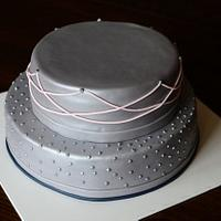 Gray, pink, navy wedding shower cake