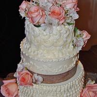 Buttercream victorian rustic wedding cake