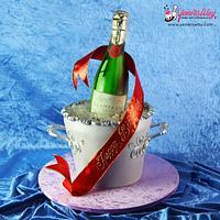 3D Champagne Bottle Ice Bucket Cake