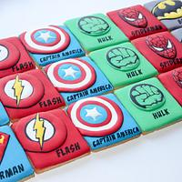 Superhero themed cookies