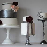 Trio of cakes with pewter shades, blush and deep red