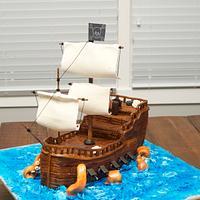 Pirate Ship Cake with Kraken