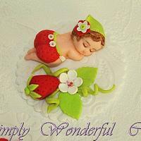 cake topper- strawberrie little girl