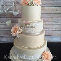 Ivory and peach rose wedding cake  by Oh Crumbs